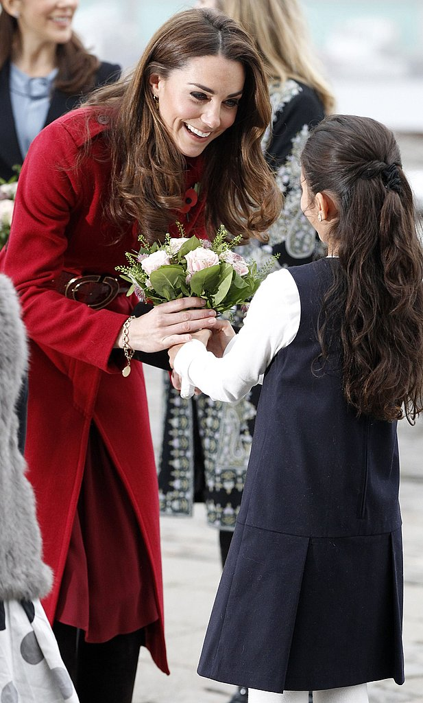 Kate Middleton accepted flowers in Copenhagen.