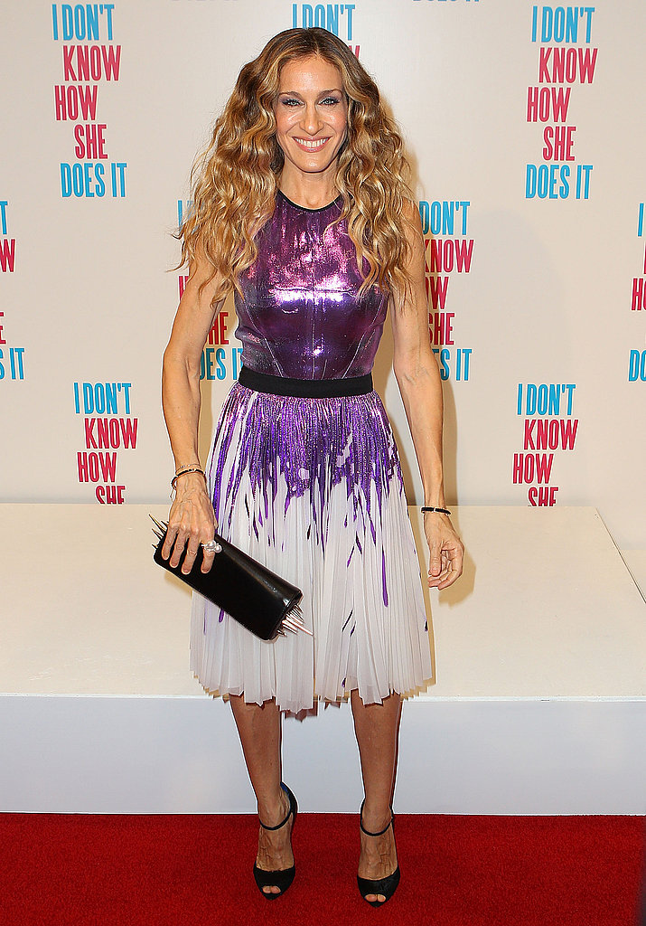 Sarah Jessica Parker in a purple metallic dress.