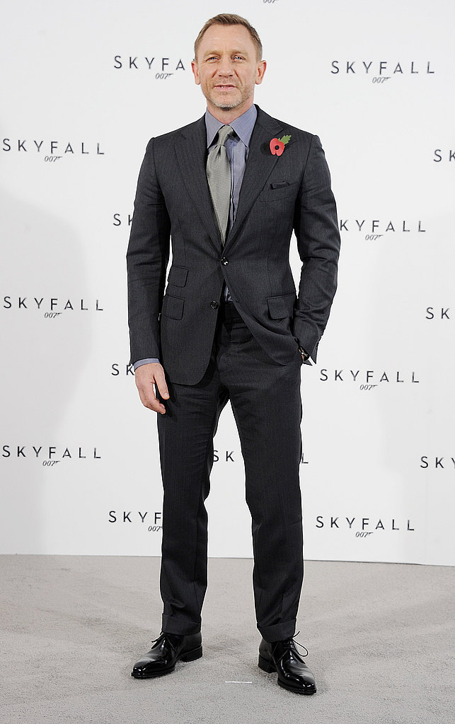 Daniel Cross buttoned up for a Bond photocall in London.