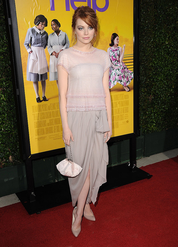 Emma knows that light, neutral tones work well on her pale skin. If you have a similar complexion, don't be afraid to wear soft colors, like Emma did in this Chanel dress.