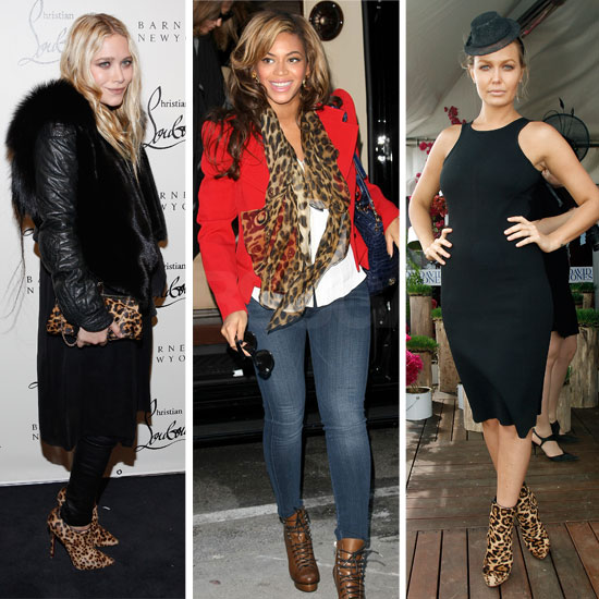 Animalistic Accessories! Picutres of Celebrities Wearing Leopard Print Shoes, Scarves and Bags: Scope the Celebrity Trend