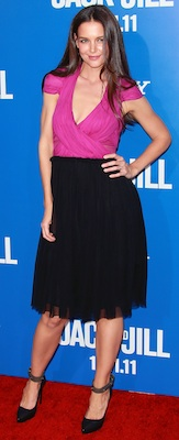 Katie Holmes in Colorblock Holmes & Yang Dress, Lanvin Pumps
