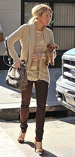 Blake Lively in Knit Autumn Cashmere Sweater and Brown J Brand Jeans