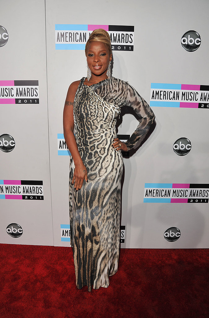 Mary J. Blige wore a one-shoulder dress on the red carpet.