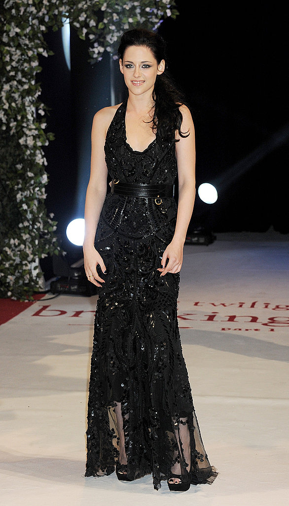 Kristen Stewart in a black gown at the UK premiere of Breaking Dawn Part 1.