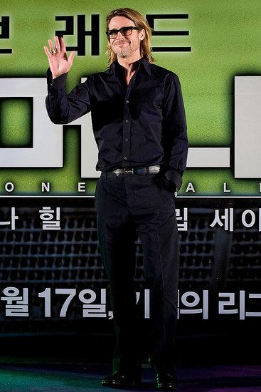 Brad Pitt took his Moneyball tour to a Seoul press conference on Nov. 15.