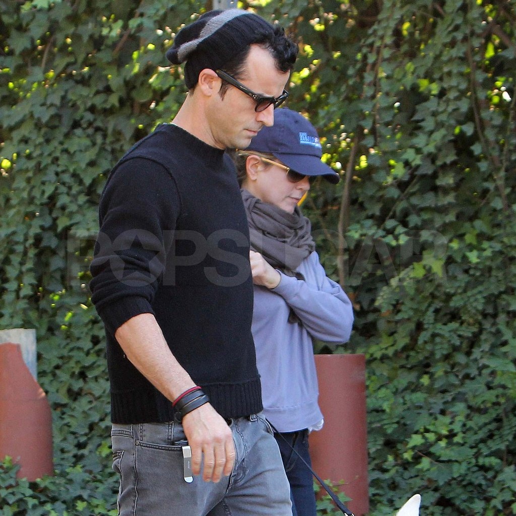 Jennifer Aniston and Justin Theroux out for a walk.