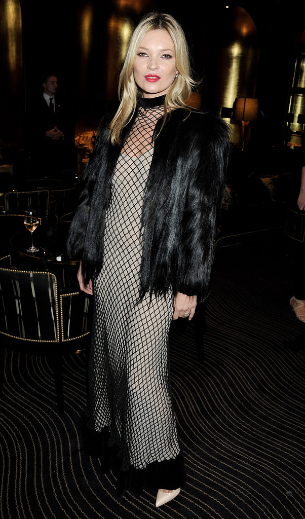 Kate Moss wore a mesh dress.