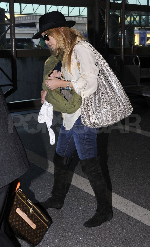 Kate Hudson and son Bingham Bellamy at LAX.