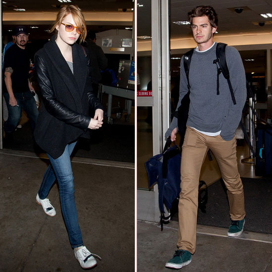 Emma Stone and Andrew Garfield Fly Together at LAX