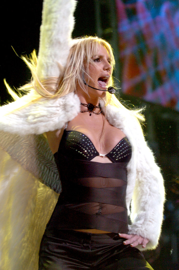Britney rocked a black bra and furry jacket for a December 2003 Jingle Ball show in LA.