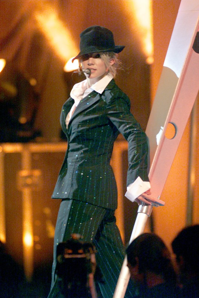 Britney Spears covered up on stage at the MTV Video Music Awards in 2000.