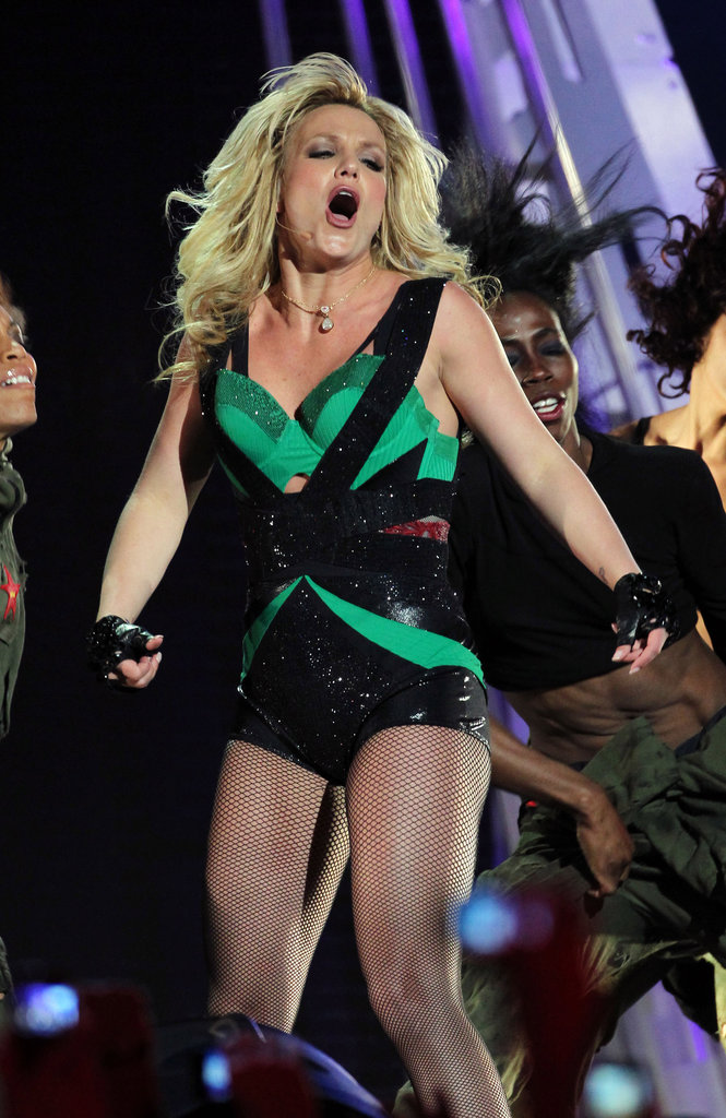 Britney Spears added a little green to a performance in LA in March 2012.
