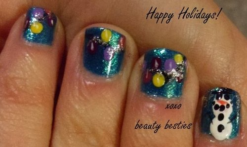 DIY Snowman and holiday light nail art