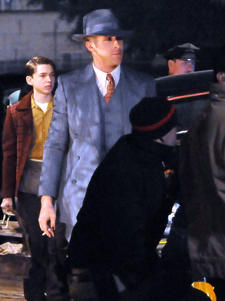 Ryan Gosling wore a three-piece suit on the set of Gangster Squad in LA.
