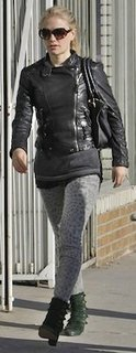 Anna Paquin in Leopard Current/Elliott Jeans With Green Jeffrey Campbell Booties