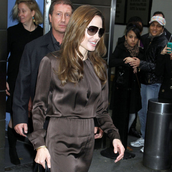 Angelina Jolie in Brown Dress at NYC Hotel Pictures