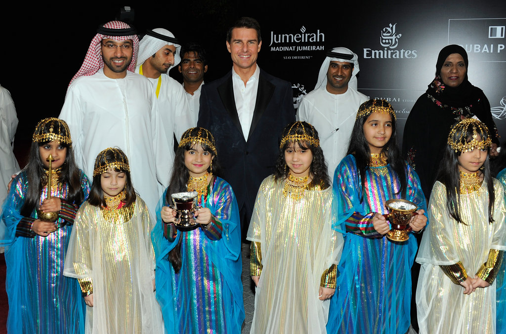 Tom Cruise posed with fans at the 2011 Dubai Film Festival.