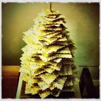 DIY tabletop Christmas tree made from upcycled materials