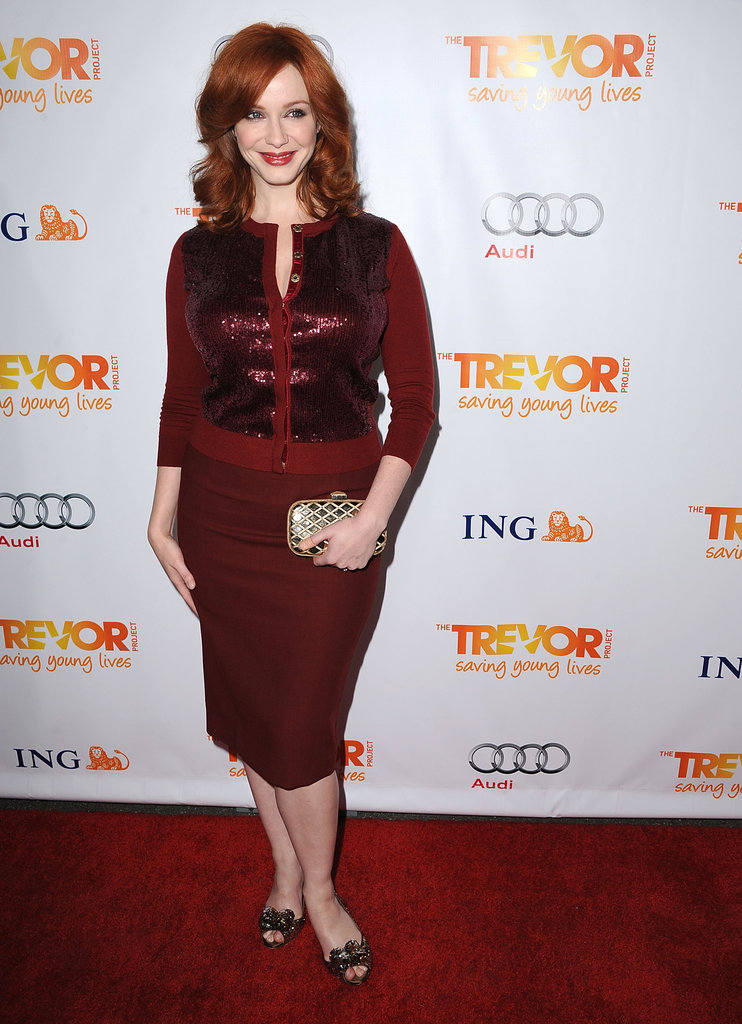 Christina Hendricks adds just a pop of glitz via sequins on a little cardigan. Take note: this is how to get a touch of the sparkle into even your more conservative looks.