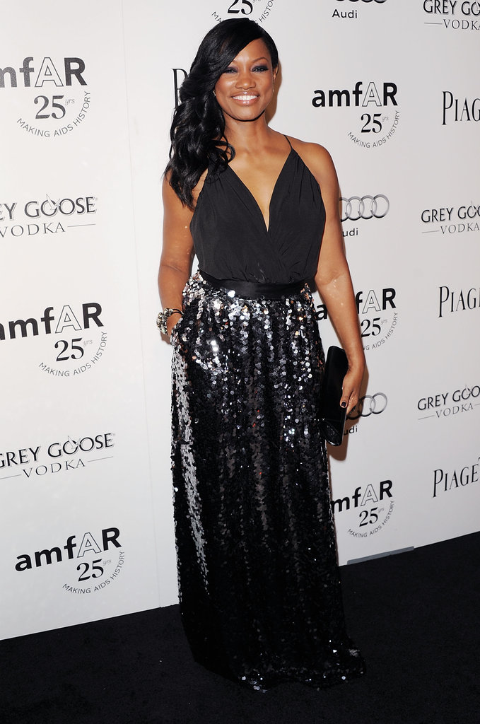 Garcelle Beauvais works a glamorous angle in a full-length sequined skirt.