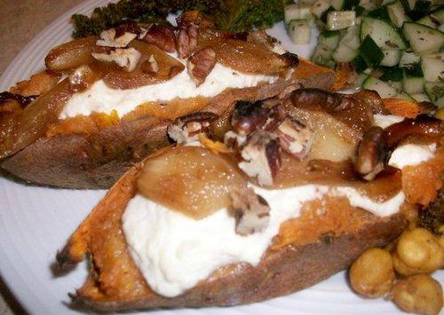 Sweet n' spicy twice-baked sweet potato
