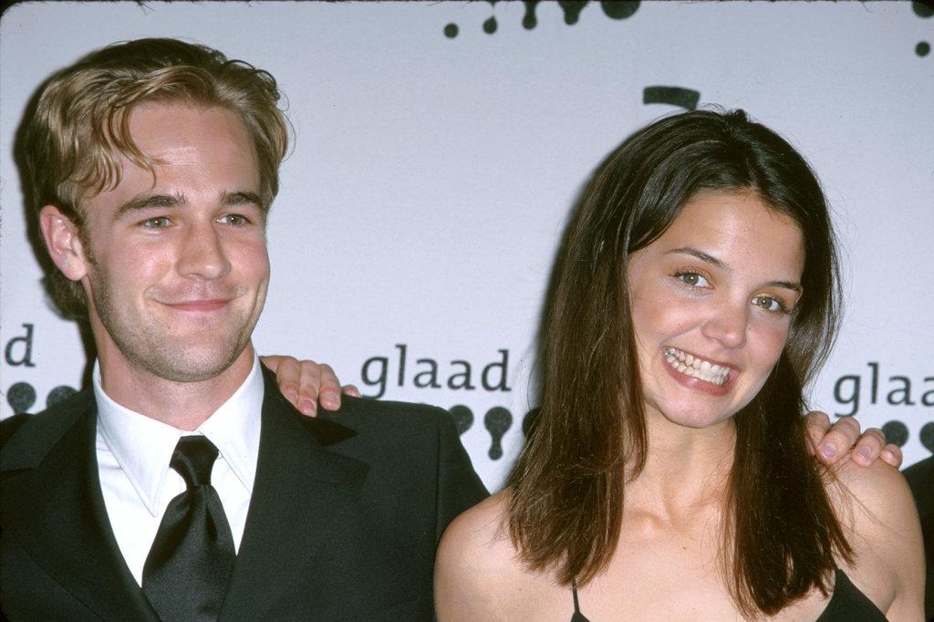 Katie Holmes posed with costar James Van Der Beek at the GLAAD Media Awards in April 2000.