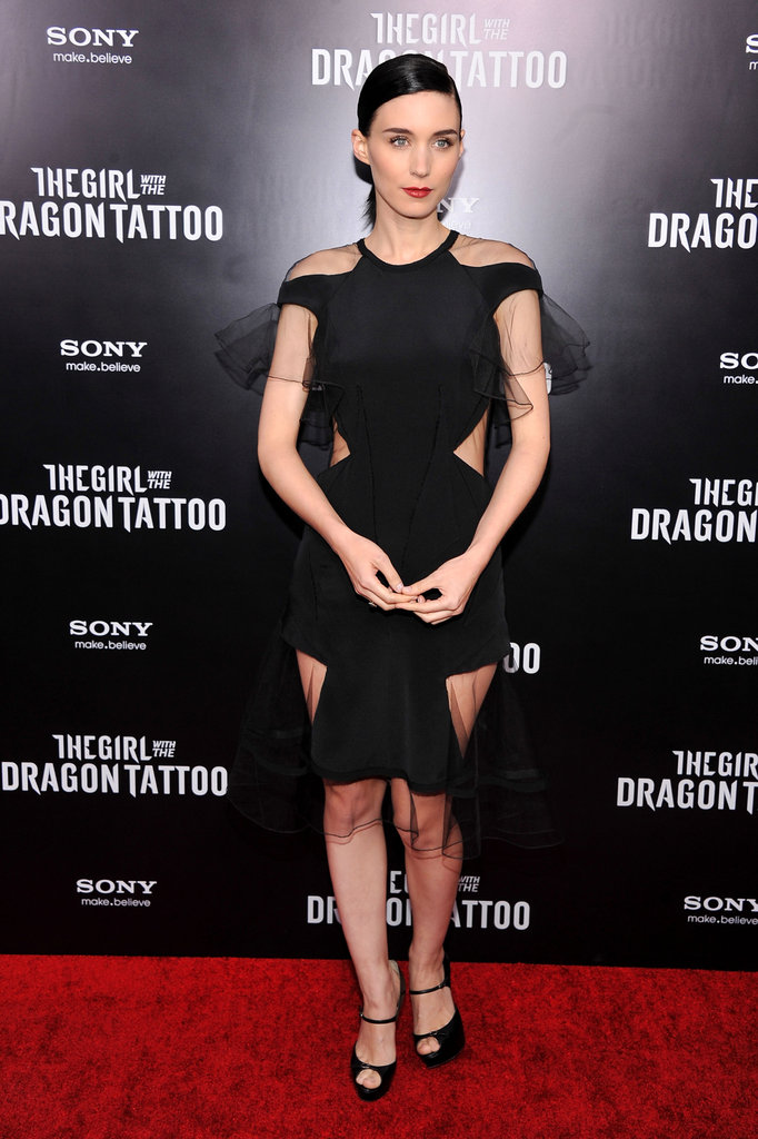 Rooney Mara wore another peek-a-boo black dress at her Girl With the Dragon Tattoo premiere, this time from Prabal Gurung.