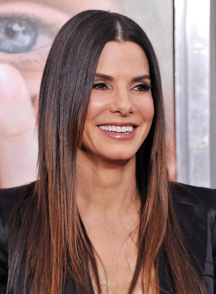 Sandra Bullock wore her hair pin straight at the premiere of Extremely Loud and Incredibly Close.