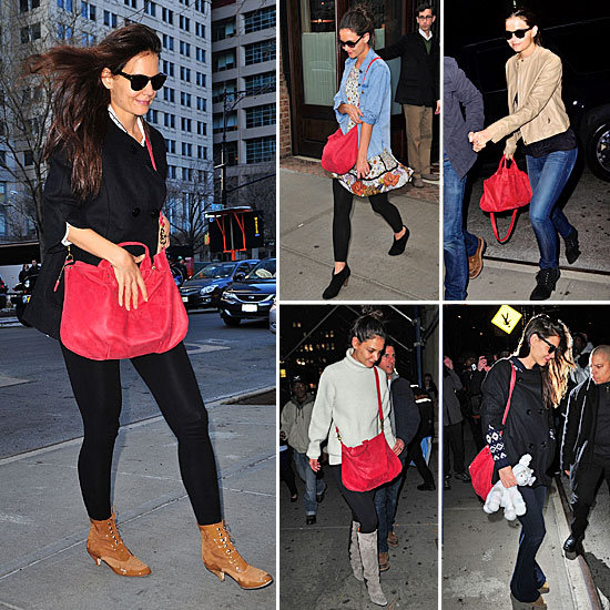 Katie Holmes Red Bag December 2011