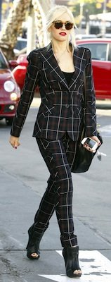 Gwen Stefani in Plaid LAMB Jacket and Matching Pants