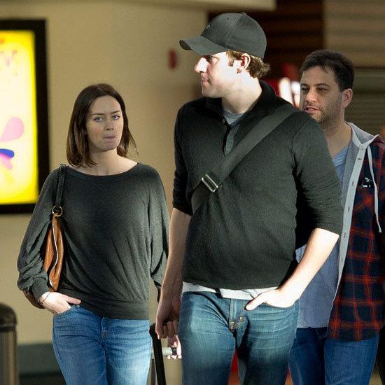 Emily Blunt, John Krasinski, & Jimmy Kimmel at LAX Pictures