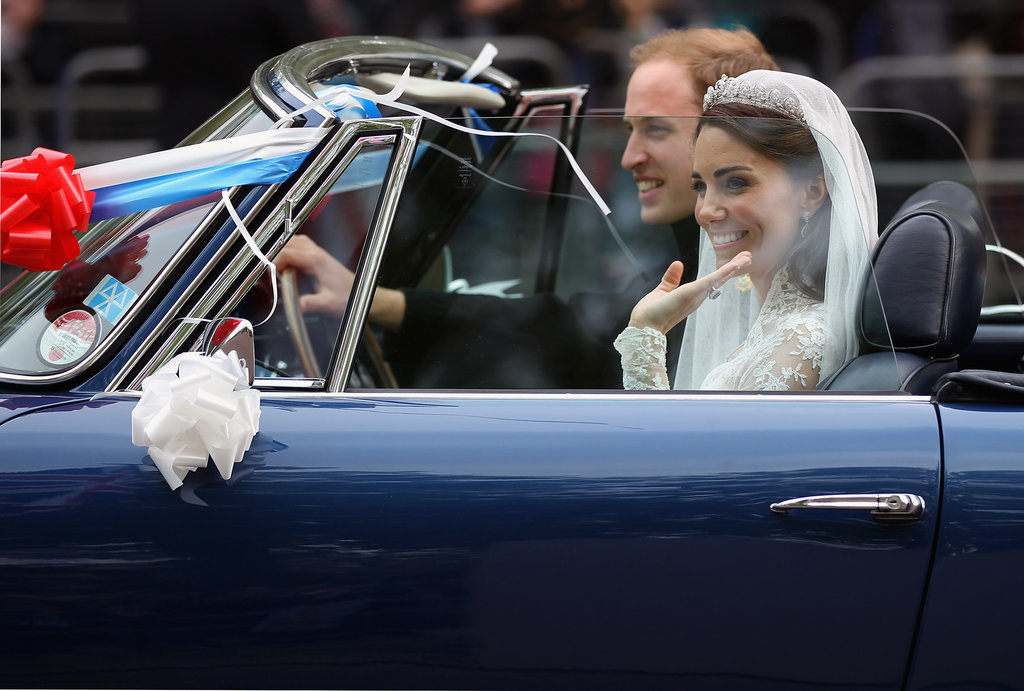 Prince William and Kate Middleton drove from Buckingham Palace to Clarence House in a vintage Aston Martin following their April 2011 wedding.