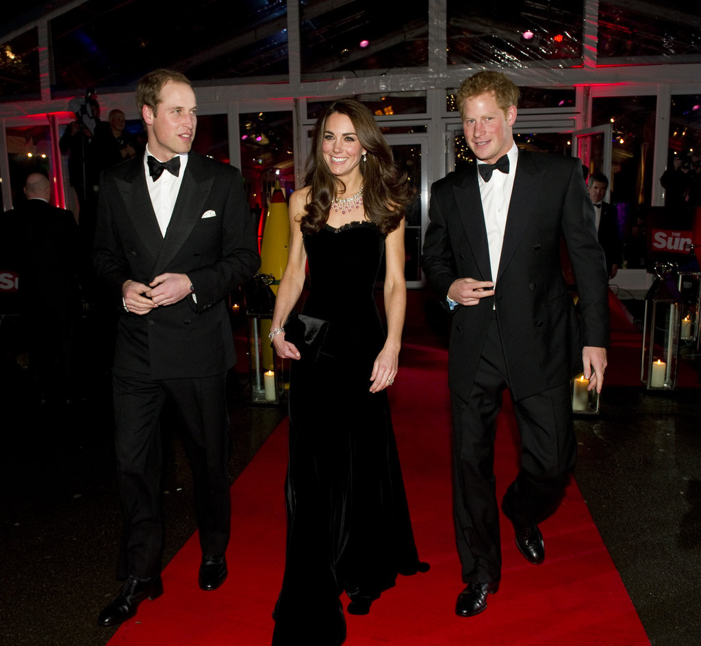 Kate Middleton joined Prince Harry and Prince William at London's Sun Military Awards in December 2011.