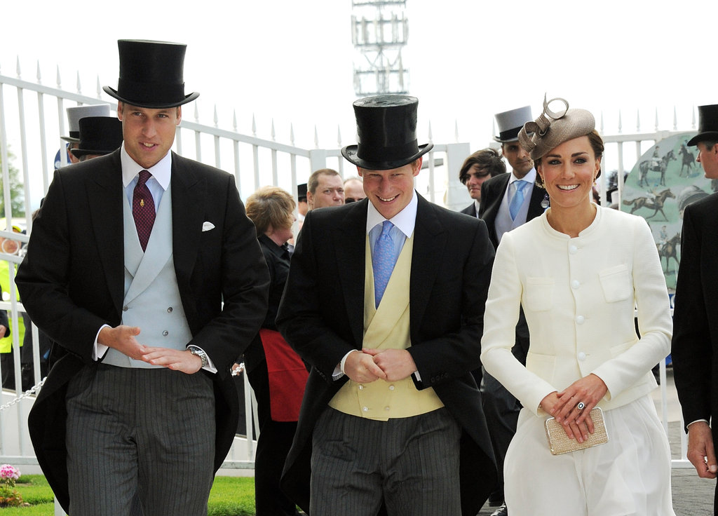 Princes William and Harry wore top hats for the Investec Derby Festival in June 2011 with Kate Middleton.