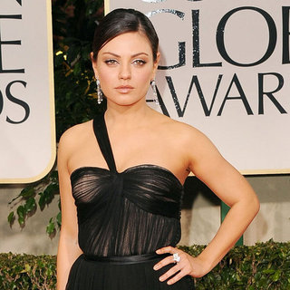 Mila Kunis Black Dior Dress Pictures at 2012 Golden Globes