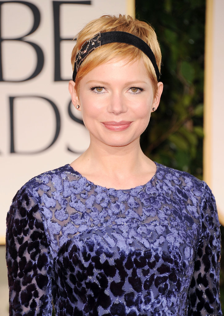 Michelle Williams in a beaded headband.