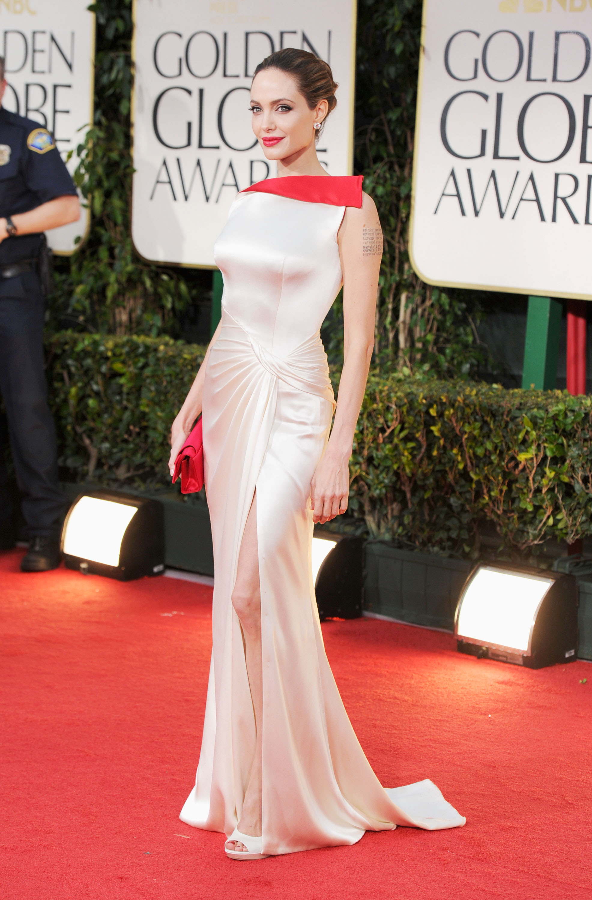 Angelina Jolie in Versace at the Golden Globes.