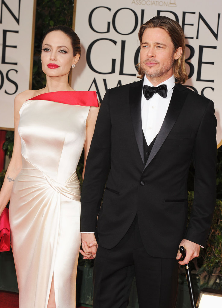 Brad Pitt and Angelina Jolie held hands on the 2012 Golden Globe Awards red carpet.