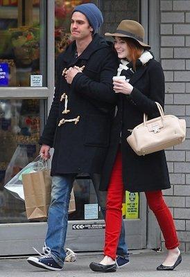 Emma Stone in J Brand Jeans, Rag and Bone Scarf, Lanvin Bag