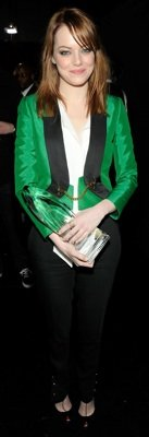 Emma Stone in Green Gucci Tuxedo at People's Choice Awards