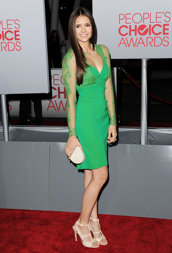 Nina Dobrev in a green Elie Saab dress.
