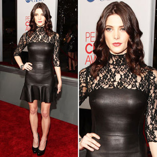 Pictures of Ashley Greene in Custom Made DKNY Leather and Lace Dress at the 2012 People's Choice Awards