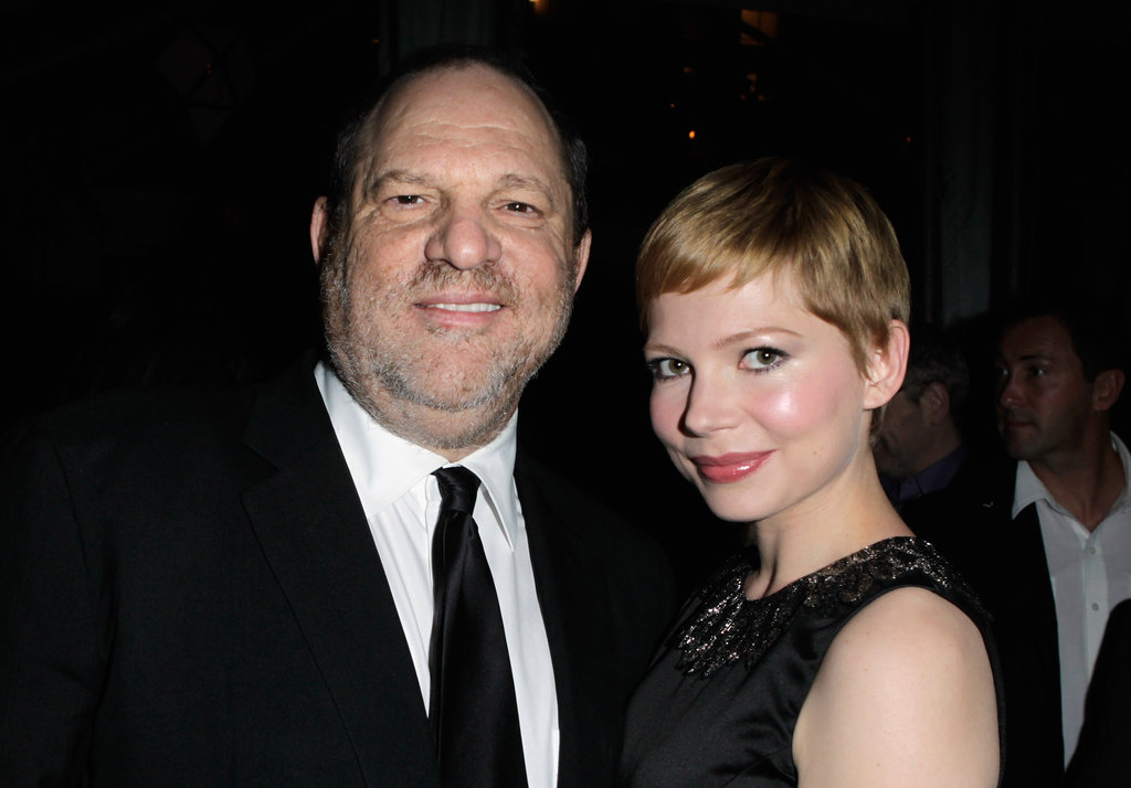 Michelle Williams and Harvey Weinstein caught up at the Weinstein Company's award season party.