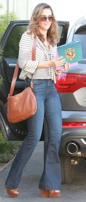Designer of Jessica Alba's Striped Blouse, Tan Shoulder Bag