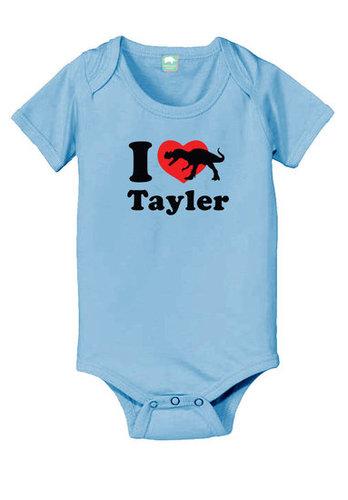 Personalized Valentine's day dinosaur baby onesie