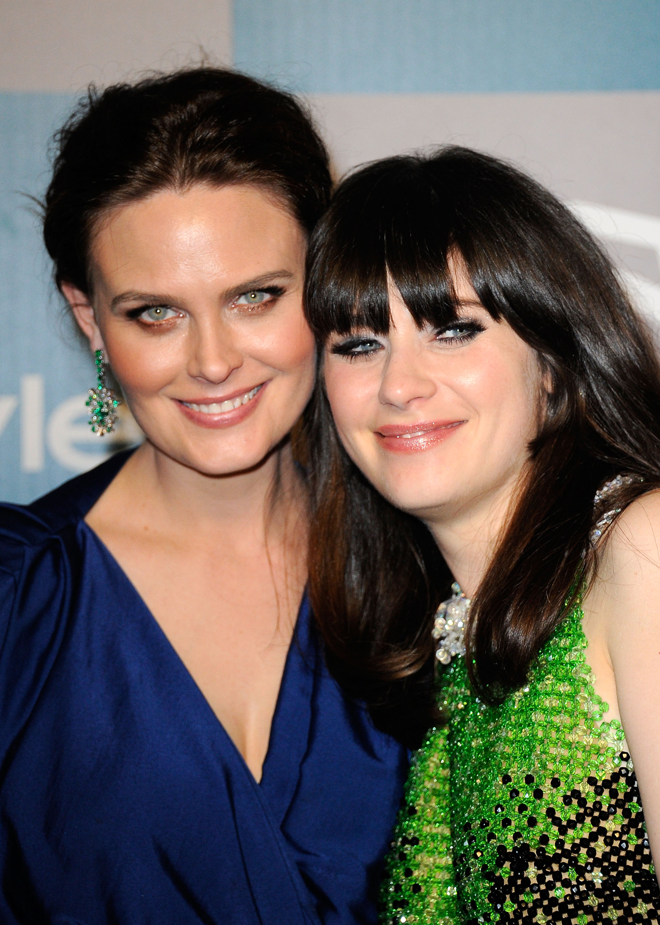 Emily and Zooey Deschanel   2012 Golden Globes After Party