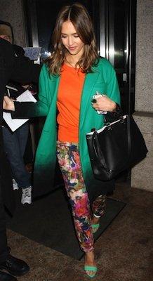 Designer of Jessica Alba's Floral Pants, Green Sandals