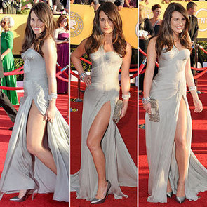 Pictures of Glee Star Lea Michele in Grey Versace Dress with Sexy Side Slit at the 2012 SAG Awards Red Carpet