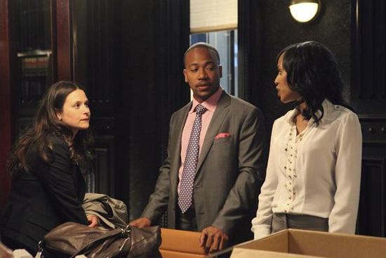 Katie Lowes, Columbus Short, and Kerry Washington in Scandal.